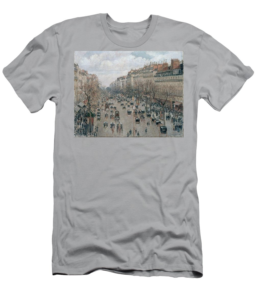 Camille Pissarro Men's T-Shirt (Athletic Fit) featuring the painting Boulevard Montmartre - Afternoon, Sunlight, 1897 by Camille Pissarro
