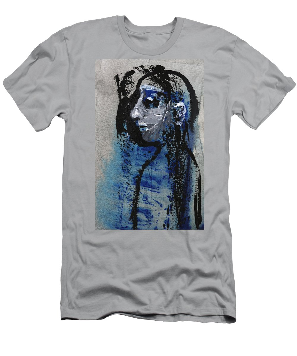 Boy Men's T-Shirt (Athletic Fit) featuring the painting Boy In Blue by Artist Dot