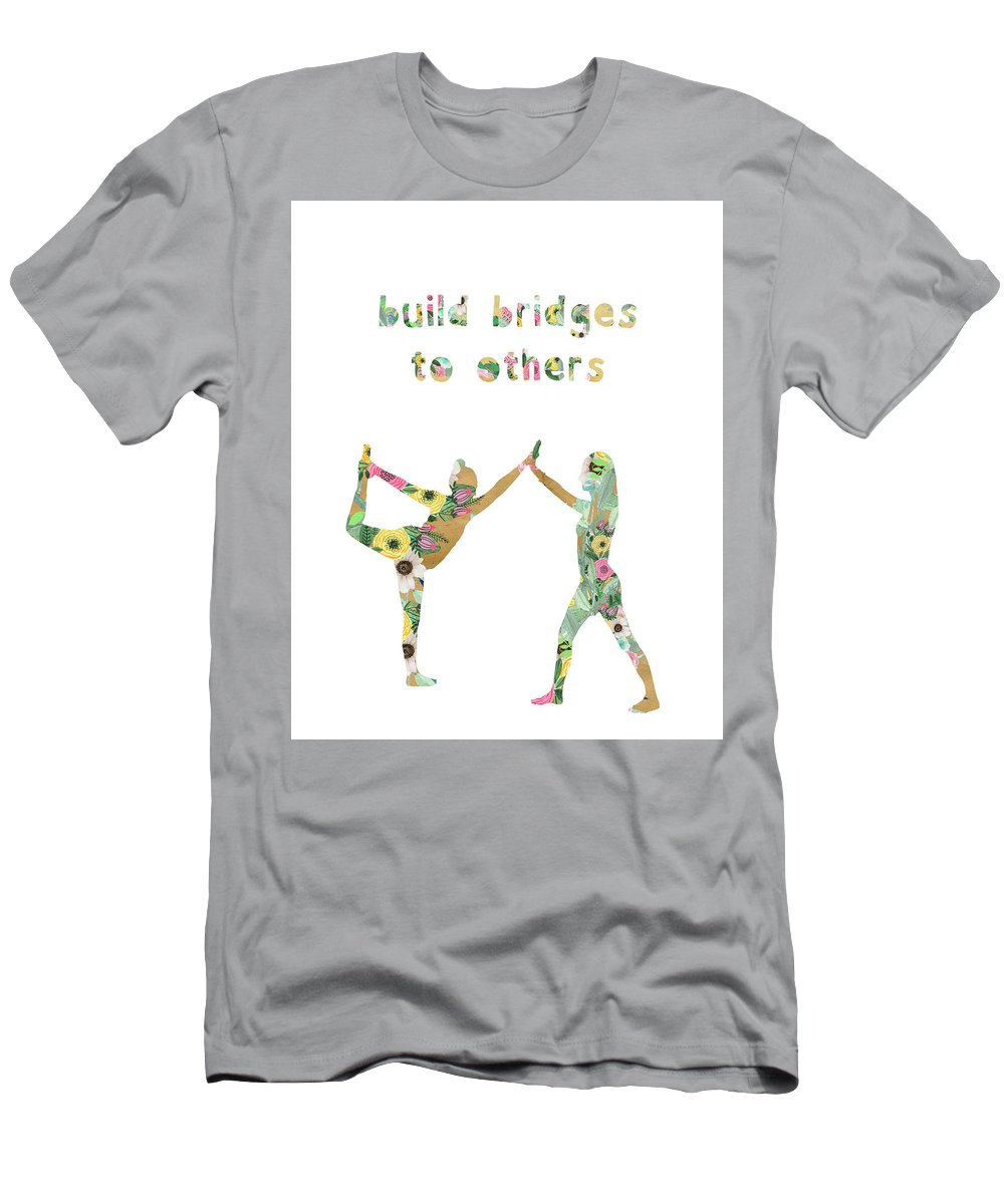 Build Bridges To Others Men's T-Shirt (Athletic Fit) featuring the mixed media Build Bridges To Others by Claudia Schoen