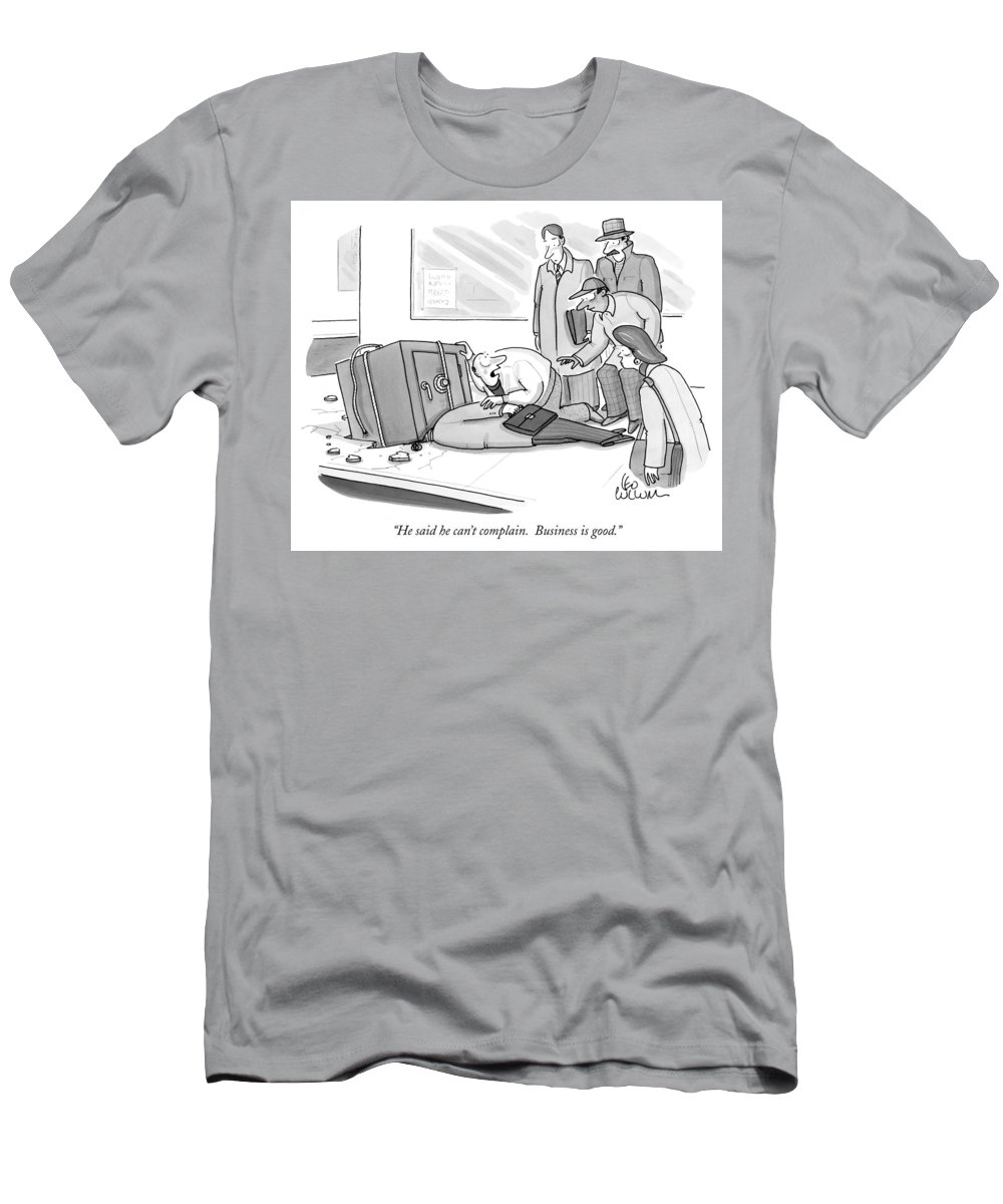 Safes; Money; Business; Complaint; Accidents; Businessmen; Executives Men's T-Shirt (Athletic Fit) featuring the photograph Business Is Good by Leo Cullum