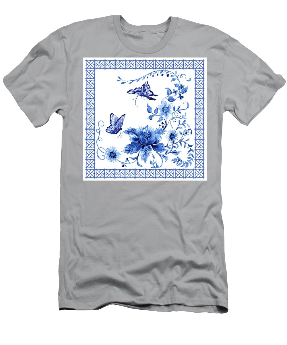 Butterflies Men's T-Shirt (Athletic Fit) featuring the painting Chinoiserie Blue And White Pagoda With Stylized Flowers Butterflies And Chinese Chippendale Border by Audrey Jeanne Roberts