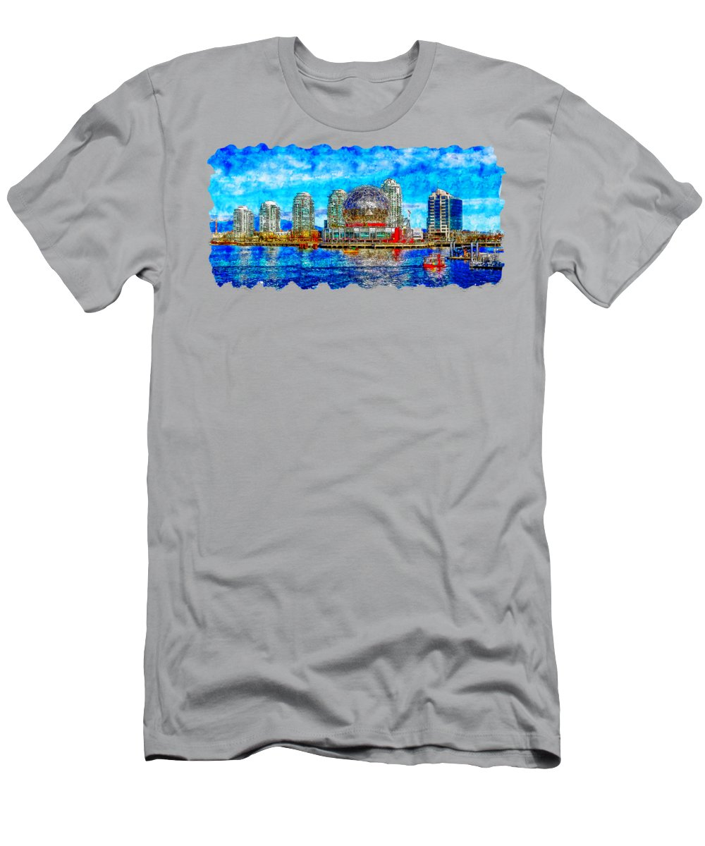 Art Men's T-Shirt (Athletic Fit) featuring the drawing Cityscape Watercolor Drawing - Vancouver by Hasan Ahmed