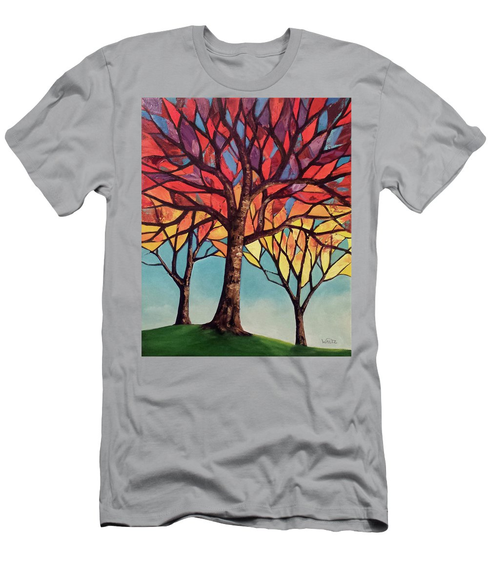 Stained Glass Style Painting Three Trees Red Orange Yellow On Blue Green Men's T-Shirt (Athletic Fit) featuring the painting Clotho, Lachesis, And Atropos by Beth Waltz