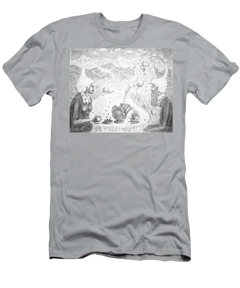 Surrealism Men's T-Shirt (Athletic Fit) featuring the drawing Cosmic Breakfast by George Tuffy