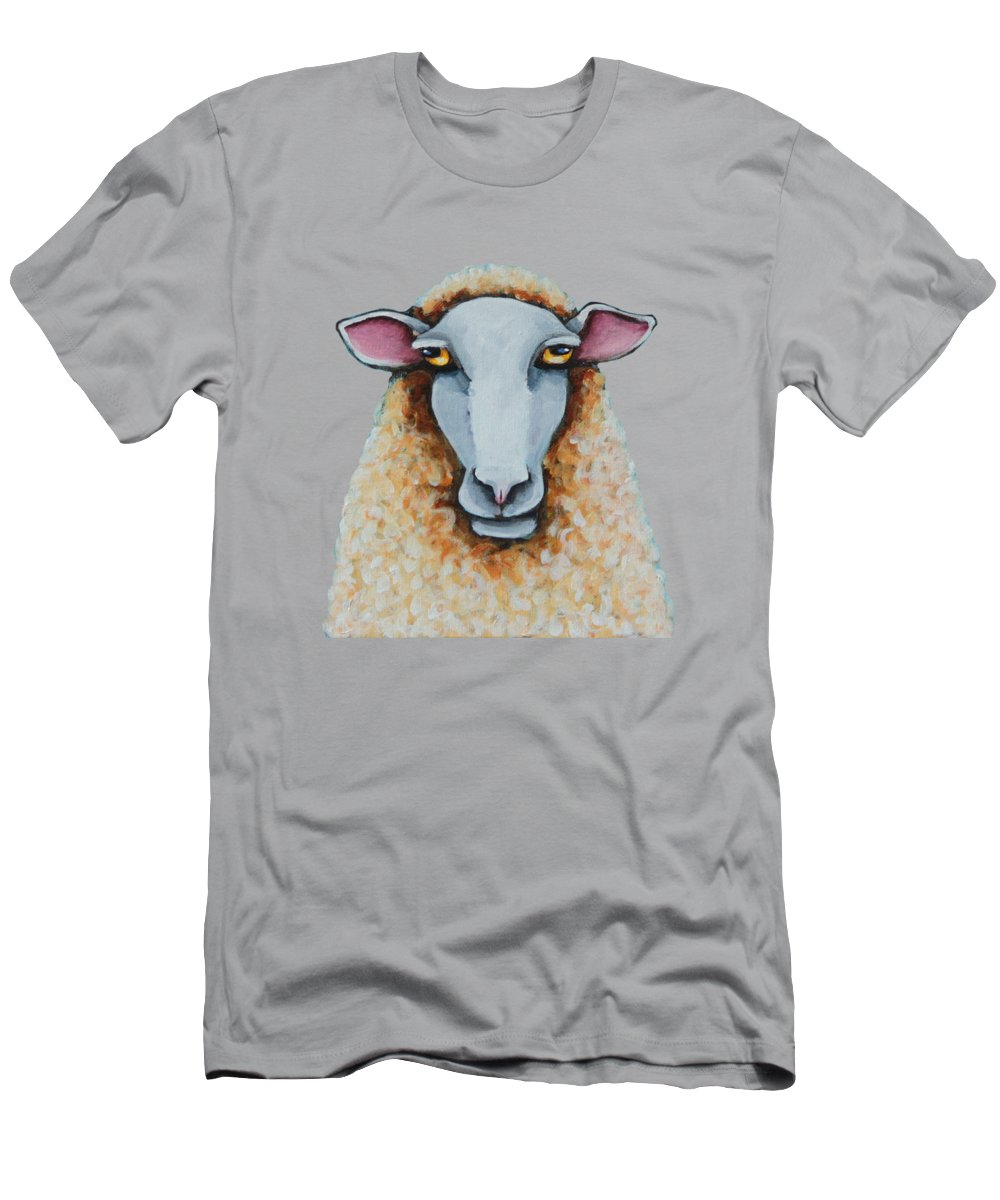 Sheep T-Shirt featuring the painting Curly by Lucia Stewart