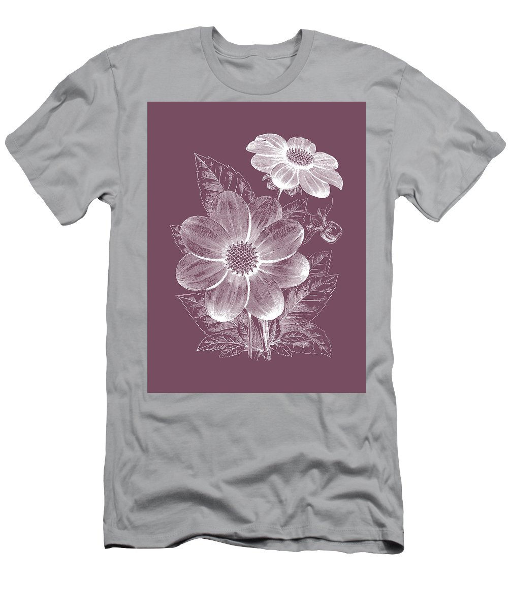 Flower Men's T-Shirt (Athletic Fit) featuring the mixed media Dahlias Purple Flower by Naxart Studio