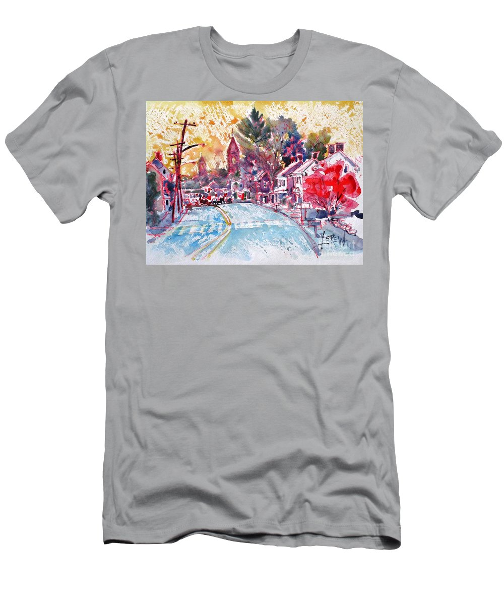 East Berlin Men's T-Shirt (Athletic Fit) featuring the painting East Berlin Streetscape by Larry Lerew
