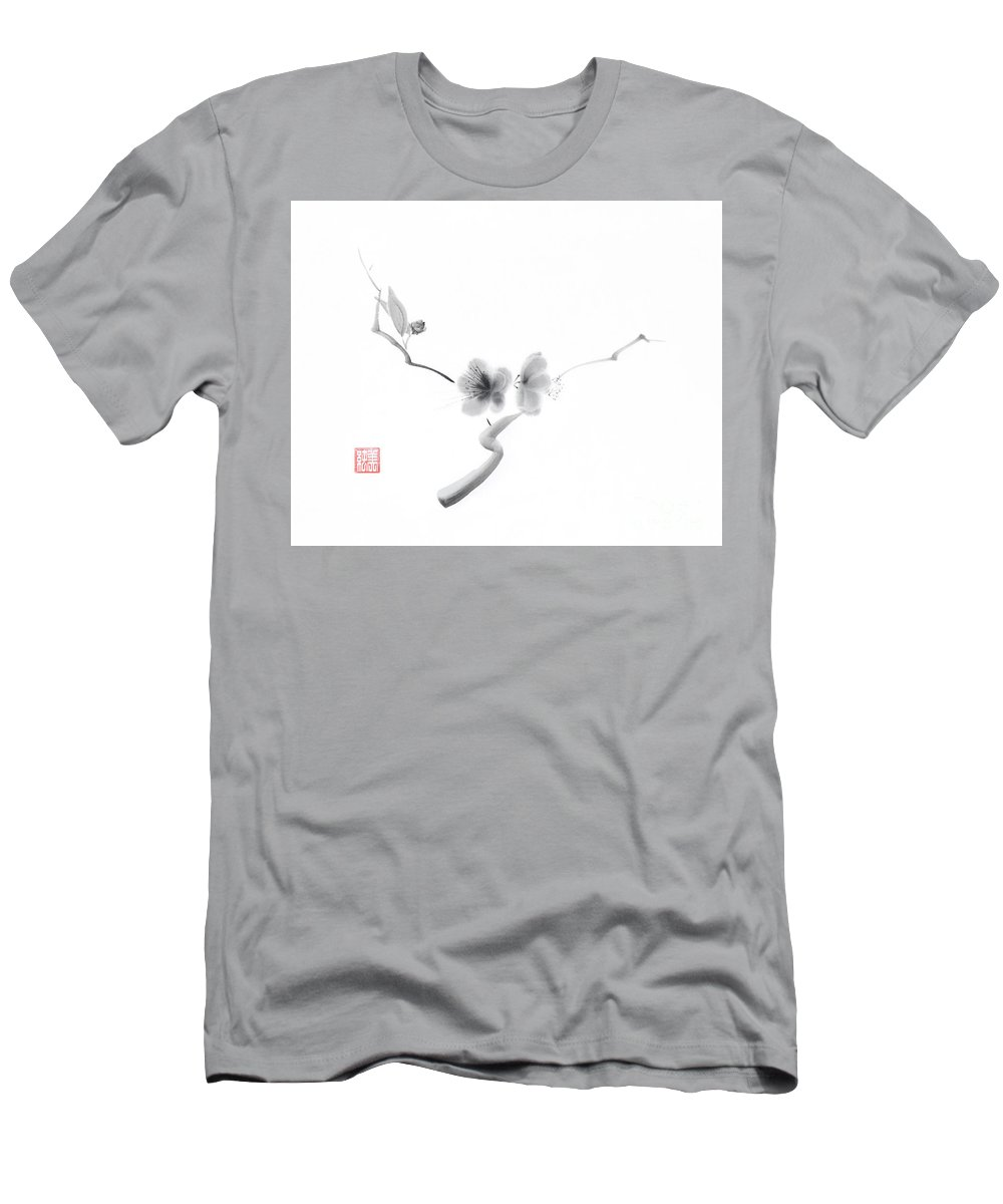 Sakura Men's T-Shirt (Athletic Fit) featuring the painting Elegant Artwork Of Sakura Flowers Japanese Zen Sumi-e Painting O by Awen Fine Art Prints