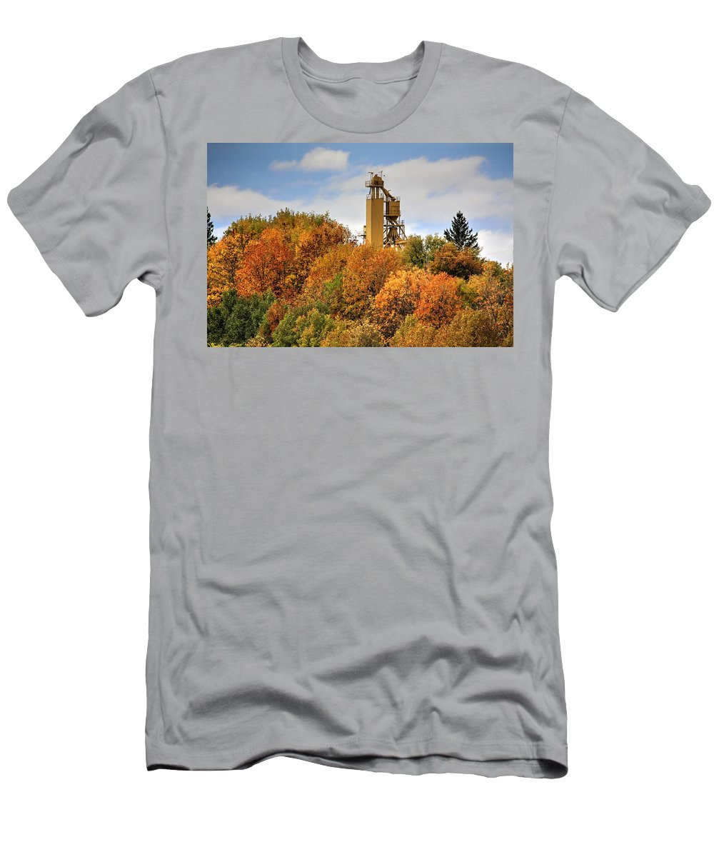 Autumn Fall Colours Colors Winter Red Yellow Red Orange Blue Harvest Evening The End Over This Before Winter Awakening Fall Colours Fall Color Summers End Men's T-Shirt (Athletic Fit) featuring the photograph Elevator Top by David Matthews