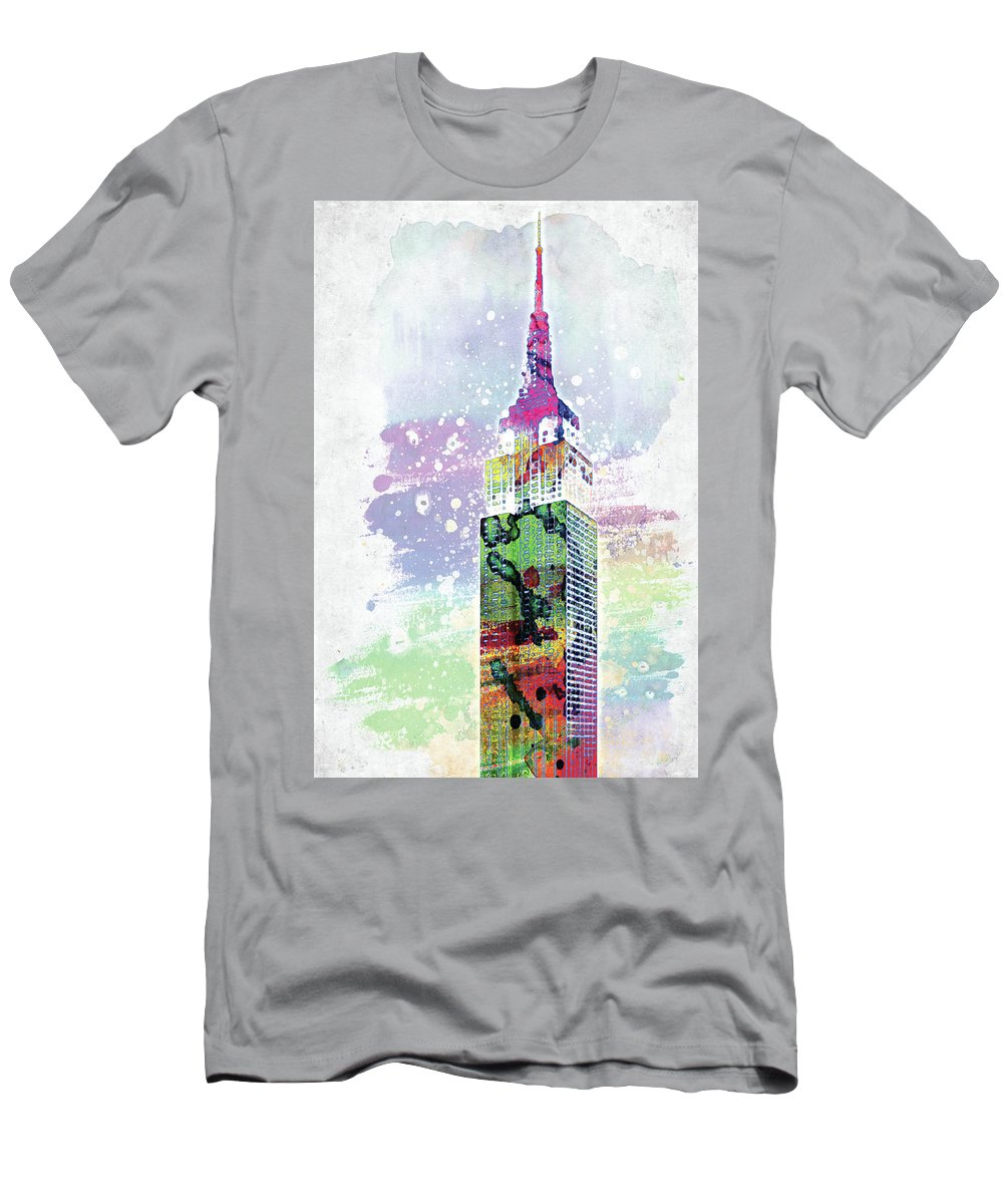 Empire State Building Men's T-Shirt (Athletic Fit) featuring the digital art Empire State Building Colorful Watercolor by Mihaela Pater