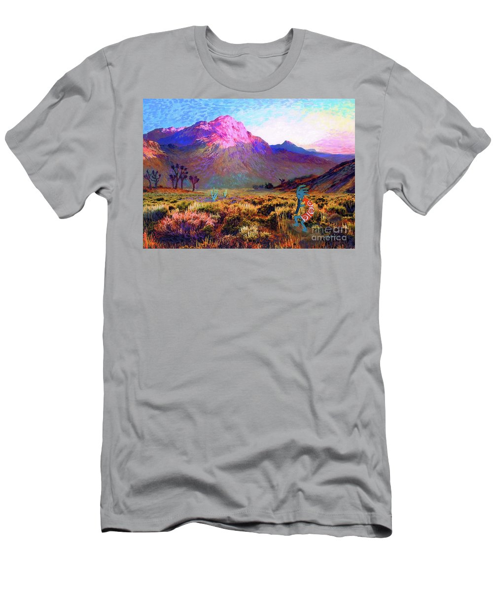 Kokopelli Men's T-Shirt (Athletic Fit) featuring the painting Kokopelli Dawn by Jane Small
