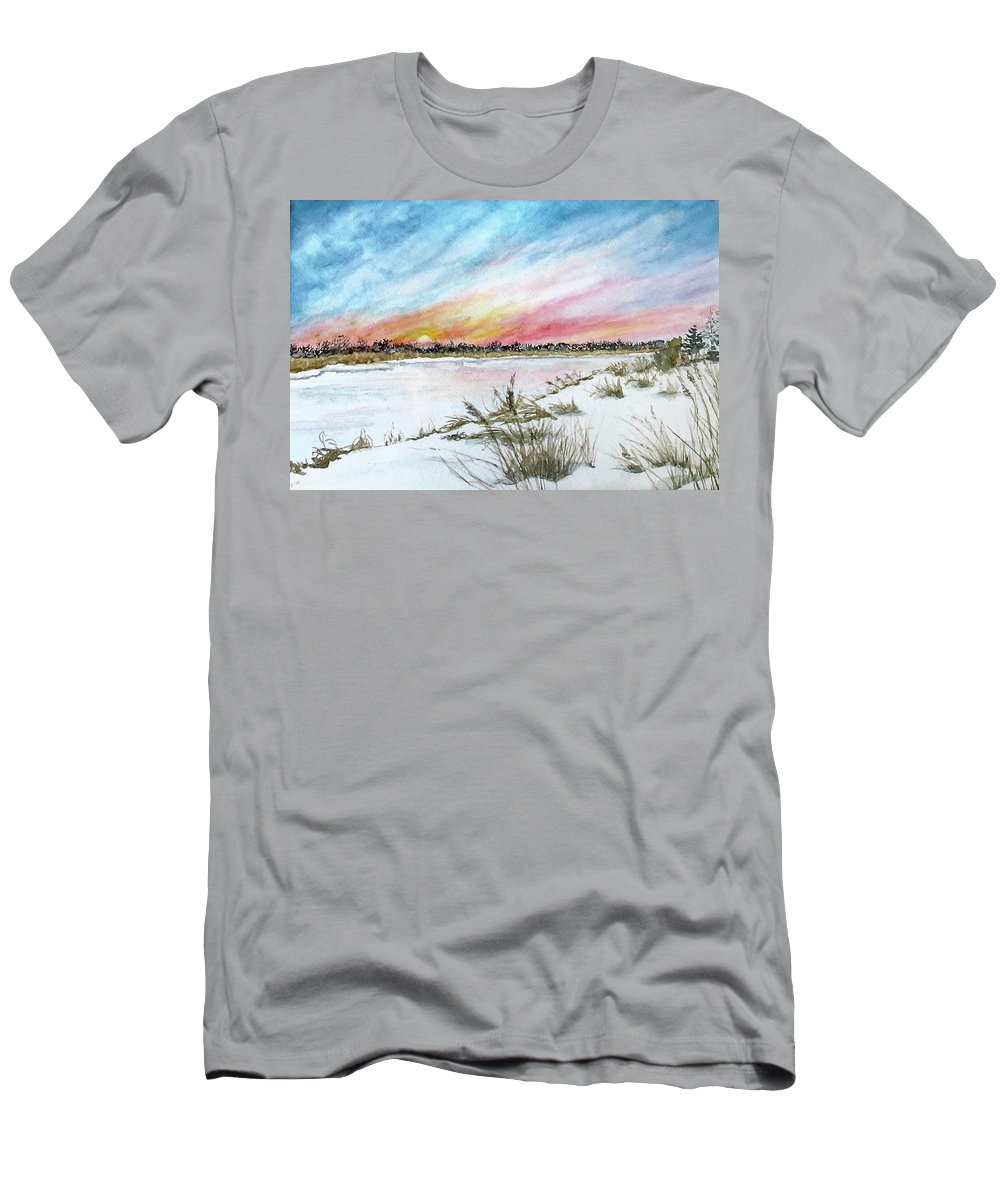 Sunset Men's T-Shirt (Athletic Fit) featuring the painting Ephemeral Sunset by Janice Petrella-Walsh