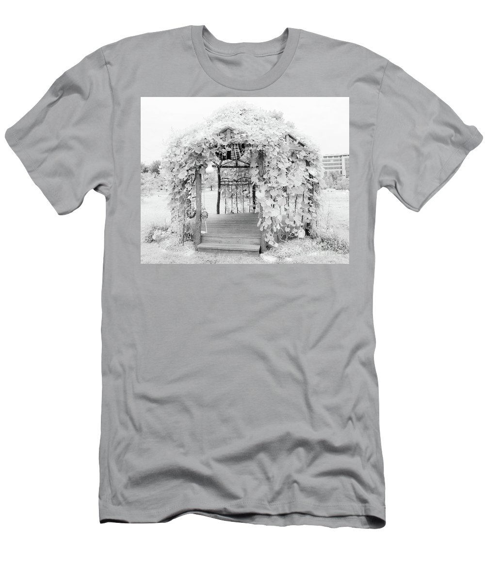 Black And White Photographs Men's T-Shirt (Athletic Fit) featuring the photograph Fantasy Hut by Terri Morris