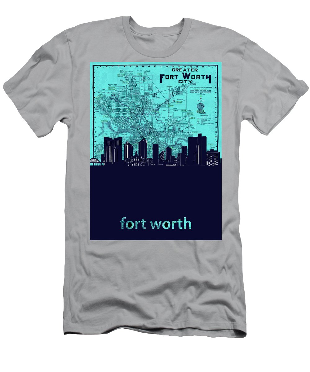 Fort Worth Men's T-Shirt (Athletic Fit) featuring the photograph Fort Worth Skyline Map Blue 2 by Bekim Art