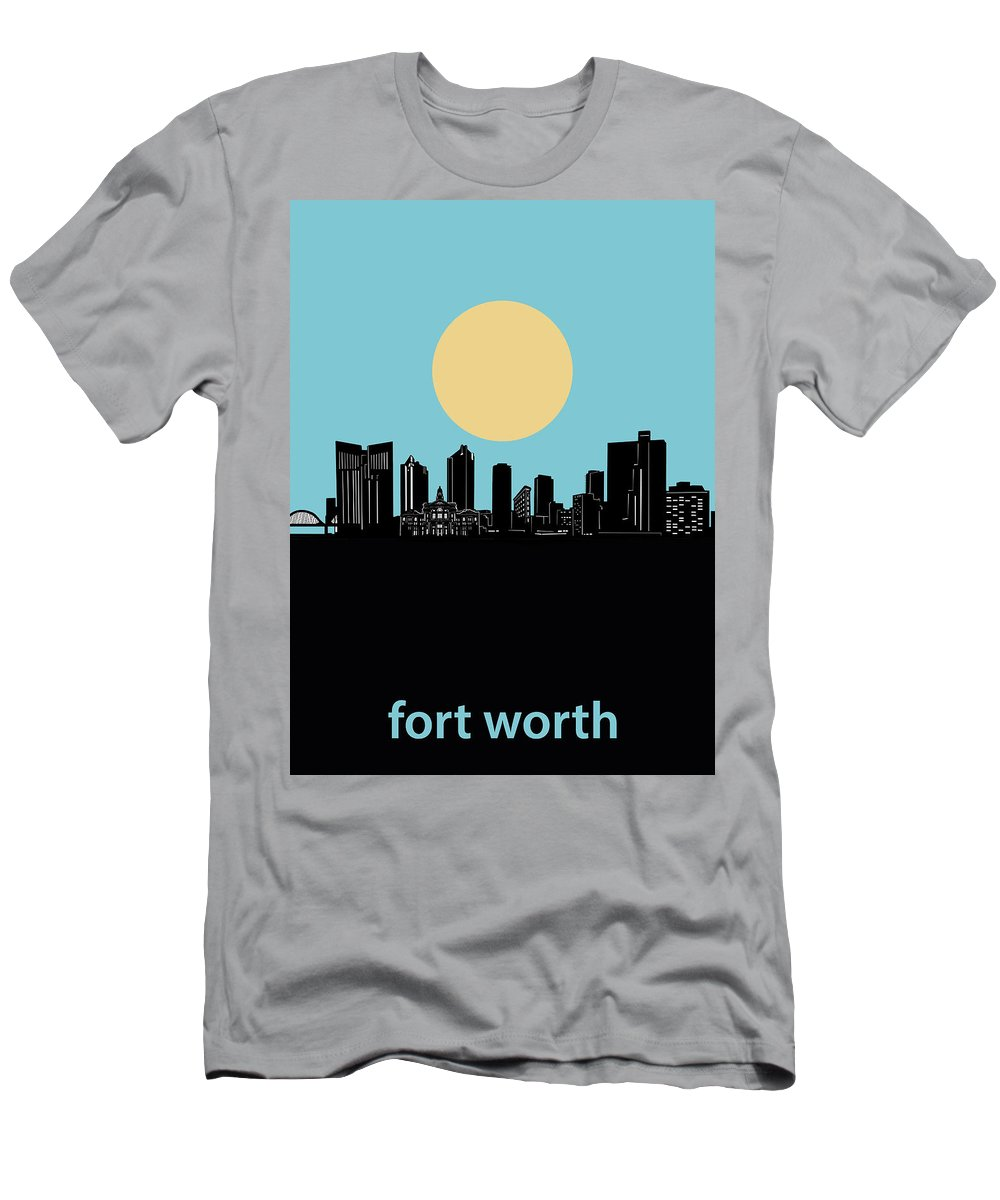 Fort Worth Men's T-Shirt (Athletic Fit) featuring the digital art Fort Worth Skyline Minimalsim Blue by Bekim Art