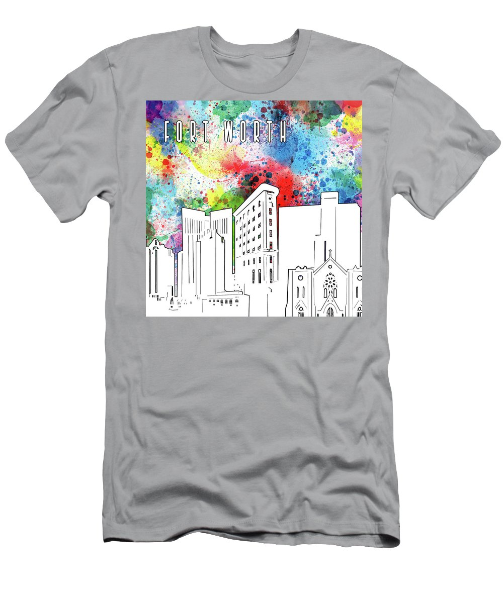 Fort Worth Men's T-Shirt (Athletic Fit) featuring the digital art Fort Worth Skyline Panorama Watercolor by Bekim Art