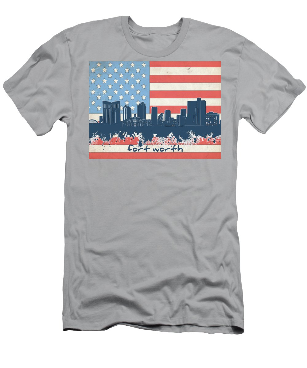 Fort Worth Men's T-Shirt (Athletic Fit) featuring the digital art Fort Worth Skyline Usa Flag by Bekim Art