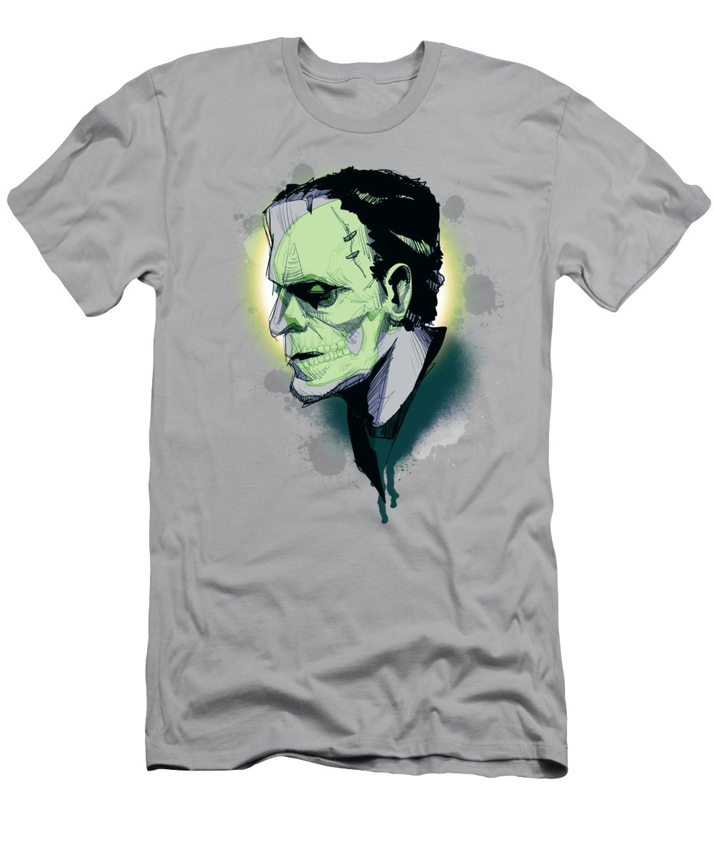Skull T-Shirt featuring the drawing Frankenskull by Ludwig Van Bacon