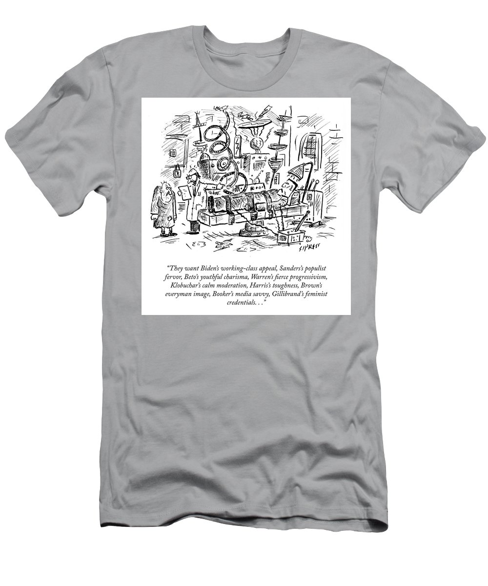 They Want Biden's Working-class Appeal Men's T-Shirt (Athletic Fit) featuring the drawing Freankenstein's Monster by David Sipress
