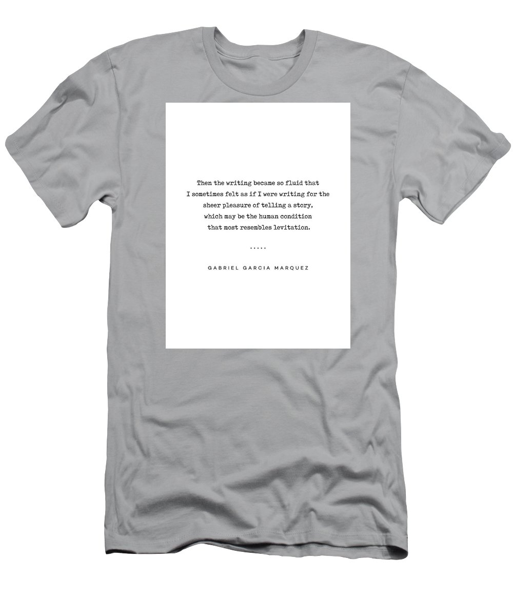 Gabriel Garcia Marquez Quote Men's T-Shirt (Athletic Fit) featuring the mixed media Gabriel Garcia Marquez Quote 02 - Typewriter - Minimal, Modern, Classy, Sophisticated Art Prints by Studio Grafiikka