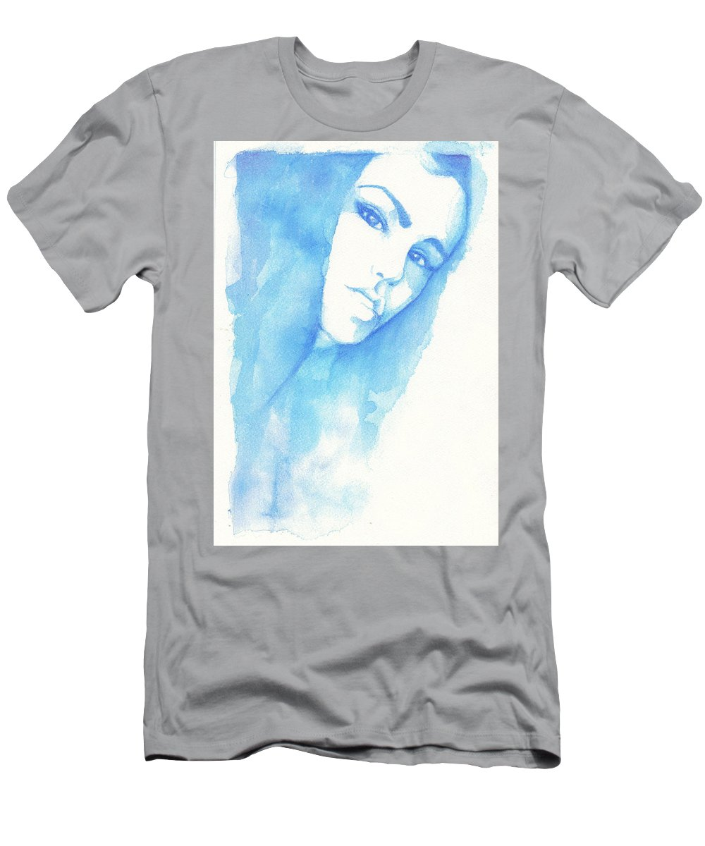 Guache Men's T-Shirt (Athletic Fit) featuring the painting Girl In Blue by Raffaello Saverio Padelletti