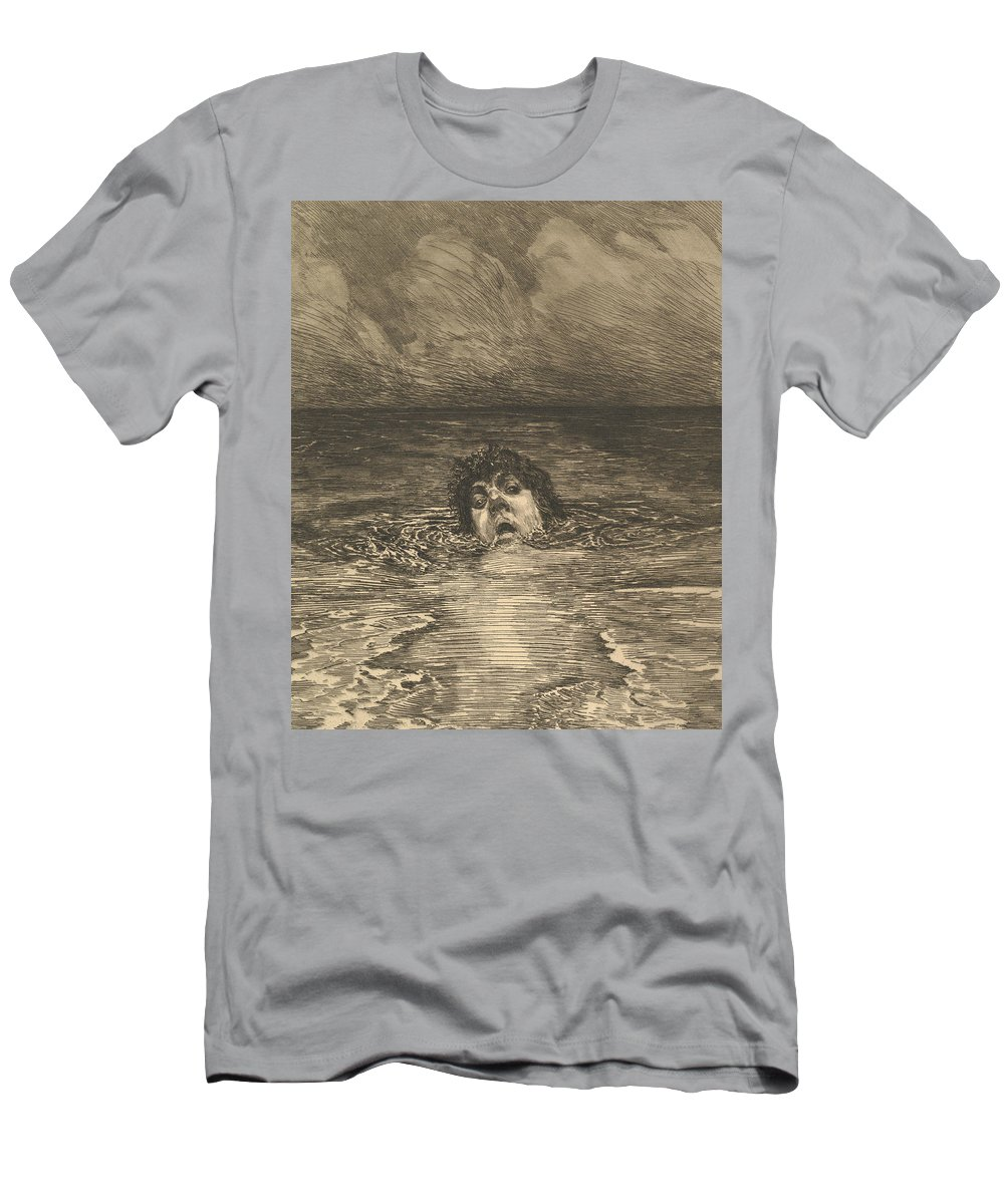19th Century Art Men's T-Shirt (Athletic Fit) featuring the relief Going Under by Max Klinger