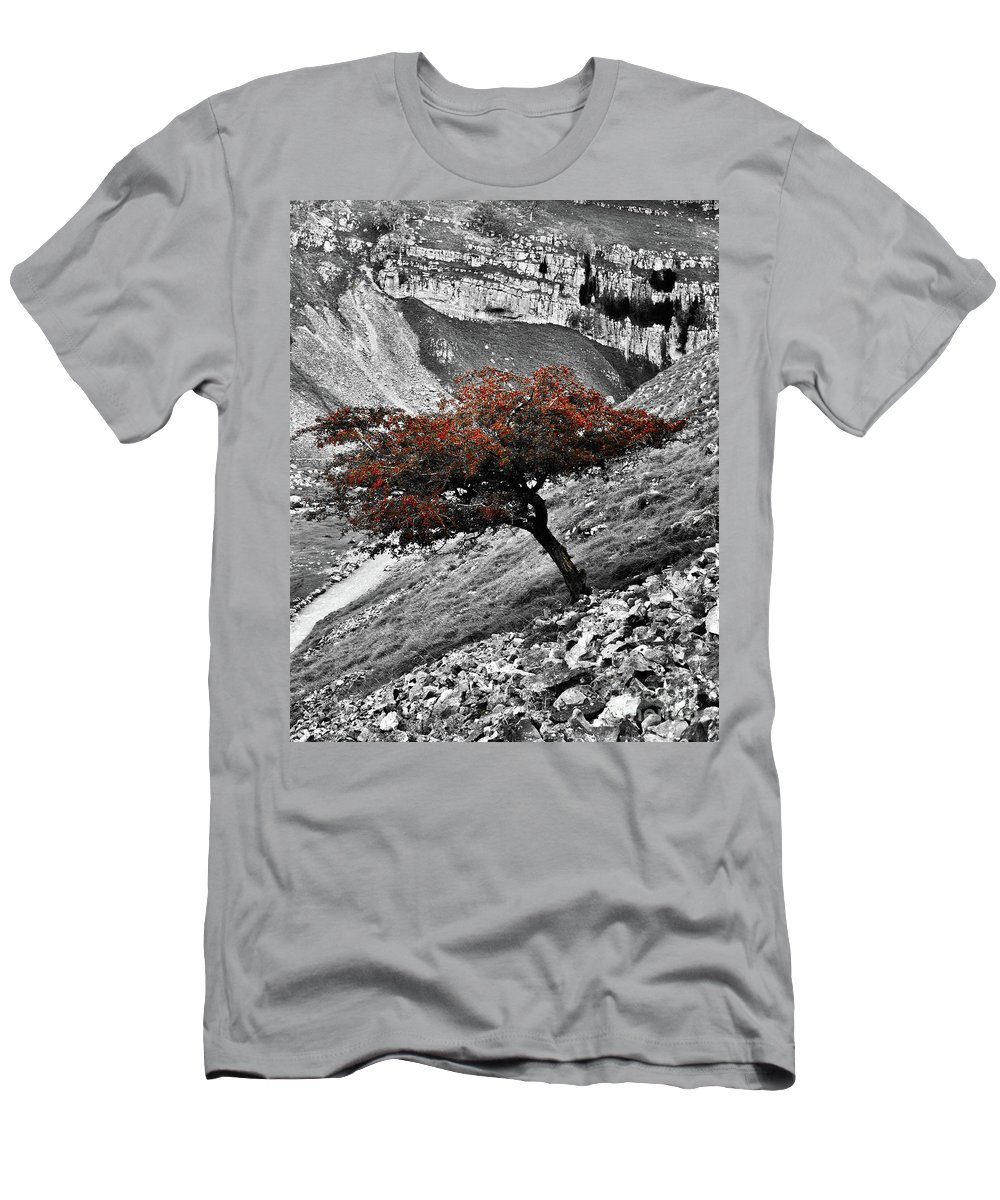 Tree Men's T-Shirt (Athletic Fit) featuring the photograph Gordale Scar Tree by Daniel McNamara