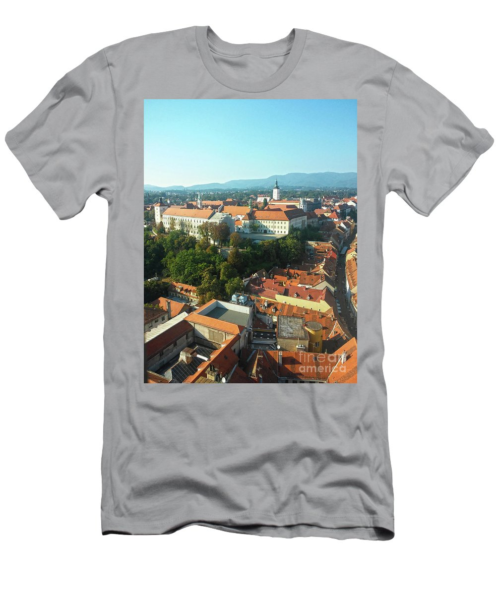 Gradec Men's T-Shirt (Athletic Fit) featuring the photograph Gradec Zagreb, Croatia by Jasna Dragun