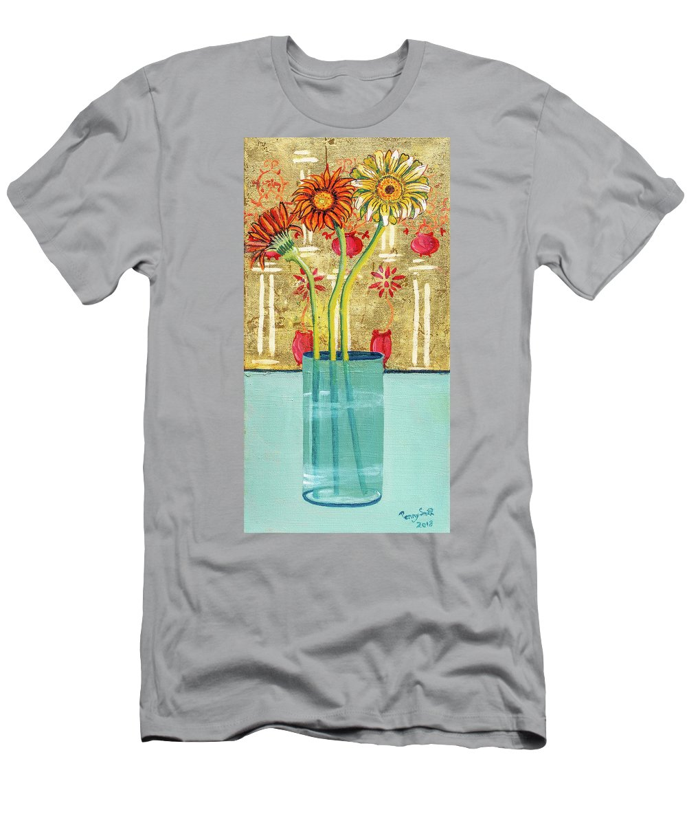 Abstract Men's T-Shirt (Athletic Fit) featuring the painting Indian Hand Painted Palace Wall by Penelope Jane Smith