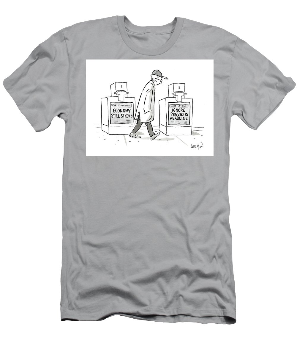 Captionless T-Shirt featuring the drawing Headlines by Robert Leighton