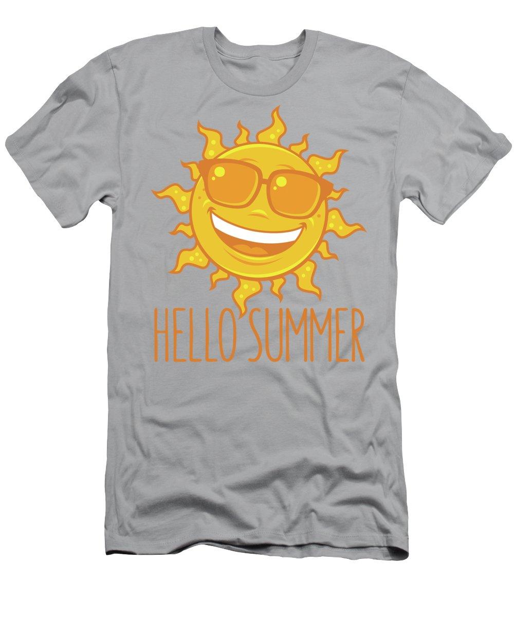 Beach T-Shirt featuring the digital art Hello Summer Sun With Sunglasses by John Schwegel