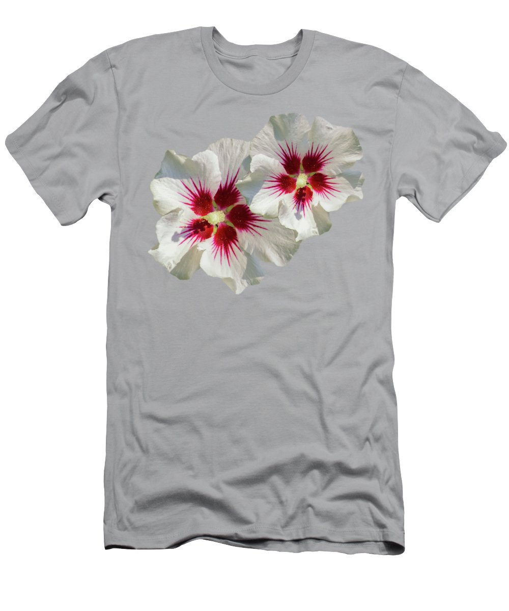 Hibiscus Flower Men's T-Shirt (Athletic Fit) featuring the mixed media Hibiscus Flower Pattern by Christina Rollo