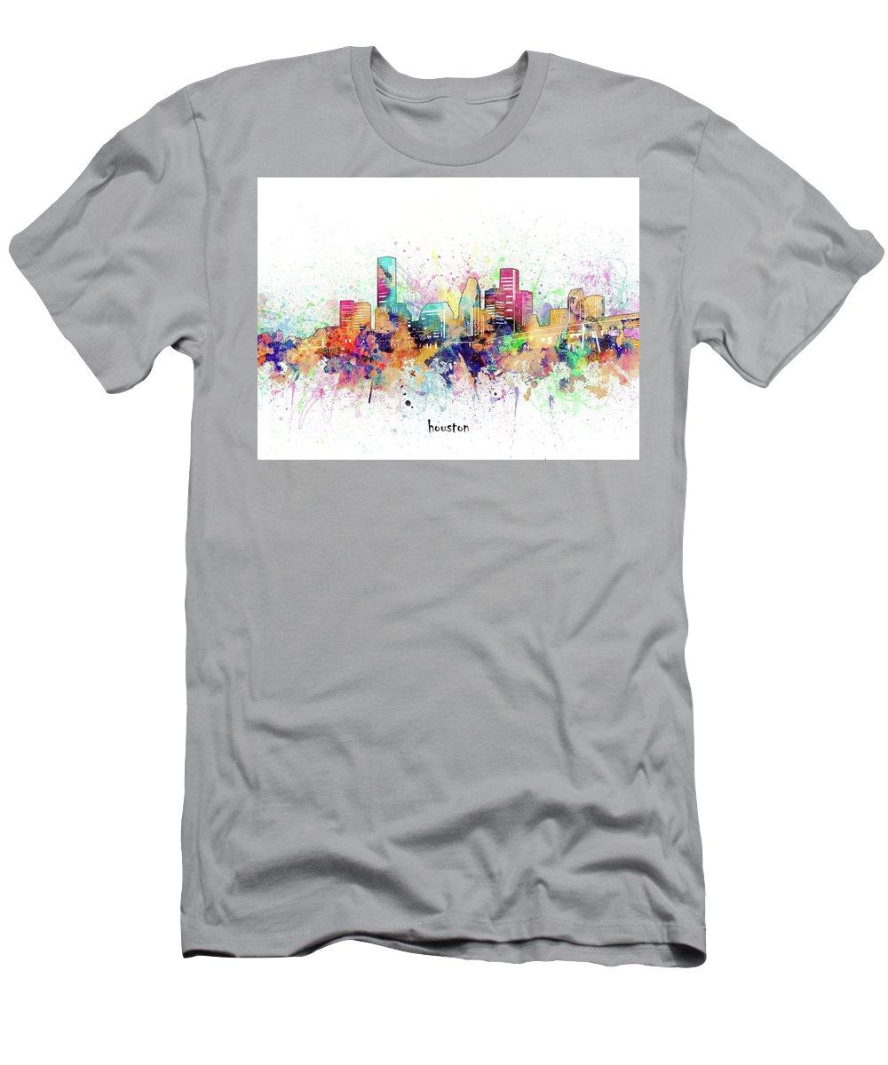 Houston Men's T-Shirt (Athletic Fit) featuring the digital art Houston Skyline Artistic by Bekim M