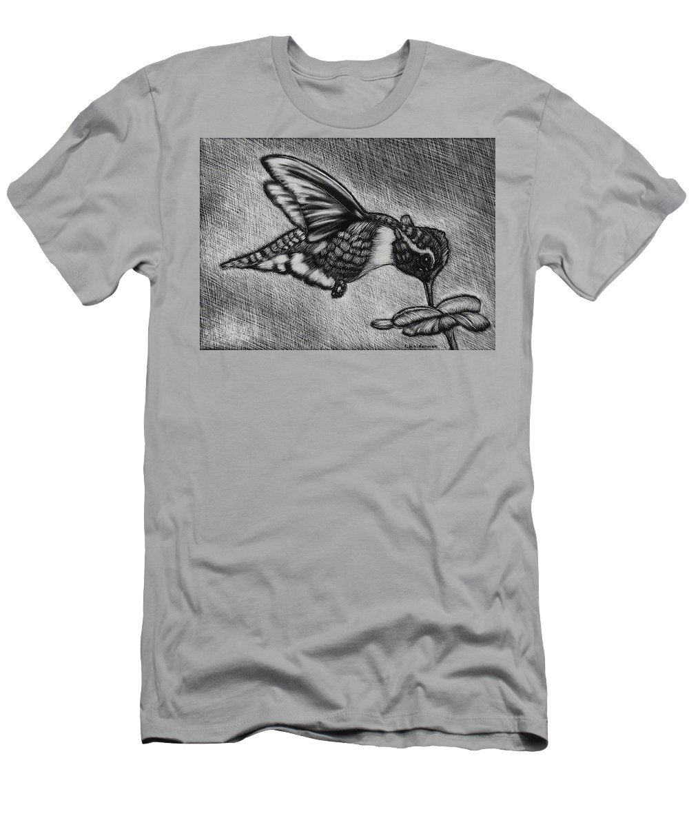 Scratchboard Men's T-Shirt (Athletic Fit) featuring the drawing Hummingbird by ILona Halderman