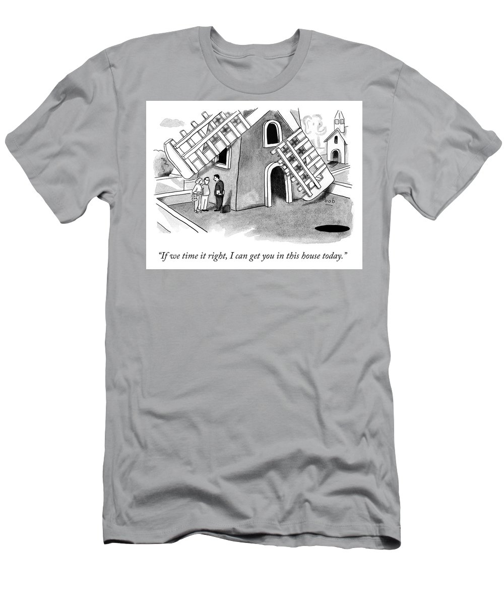 Cctk Men's T-Shirt (Athletic Fit) featuring the drawing If We Time It Right by Bob Eckstein