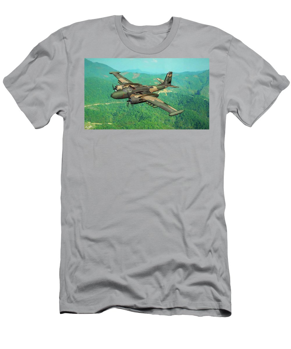 Douglas A-26k Invader Men's T-Shirt (Athletic Fit) featuring the digital art Invader Over Vietnam - Oil by Tommy Anderson
