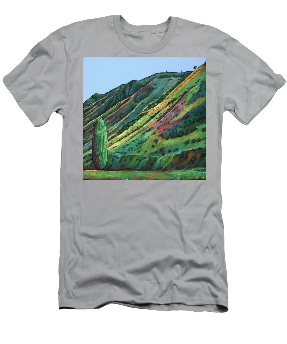 Landscape Art Men's T-Shirt (Athletic Fit) featuring the painting Jackson Hole by Johnathan Harris