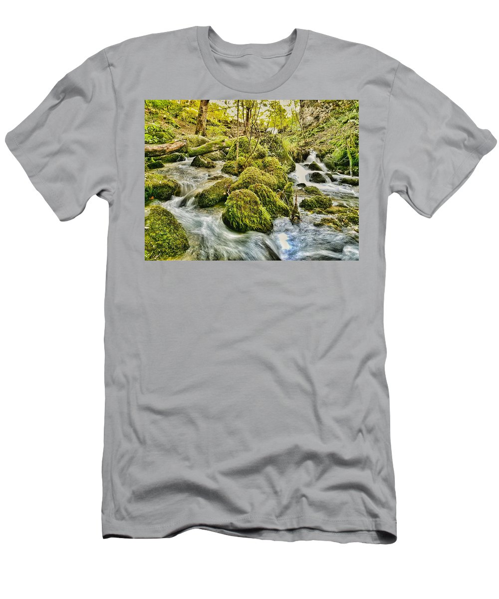 Long Exposure Men's T-Shirt (Athletic Fit) featuring the photograph Janet's Foss Flow by Daniel McNamara