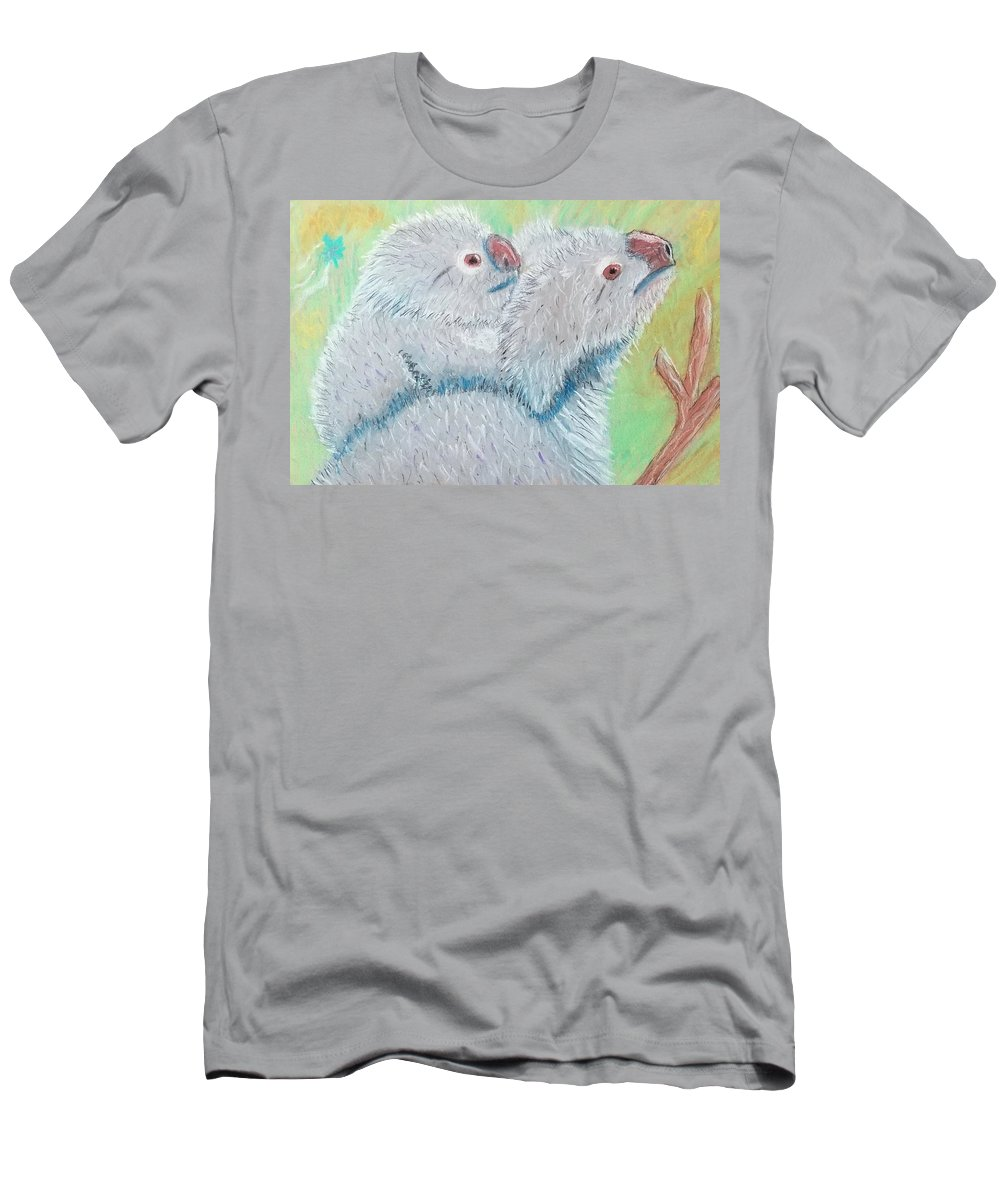 Bright Painting Men's T-Shirt (Athletic Fit) featuring the painting Koala With Baby - Pastel Wildlife Painting by Shawn Ballard