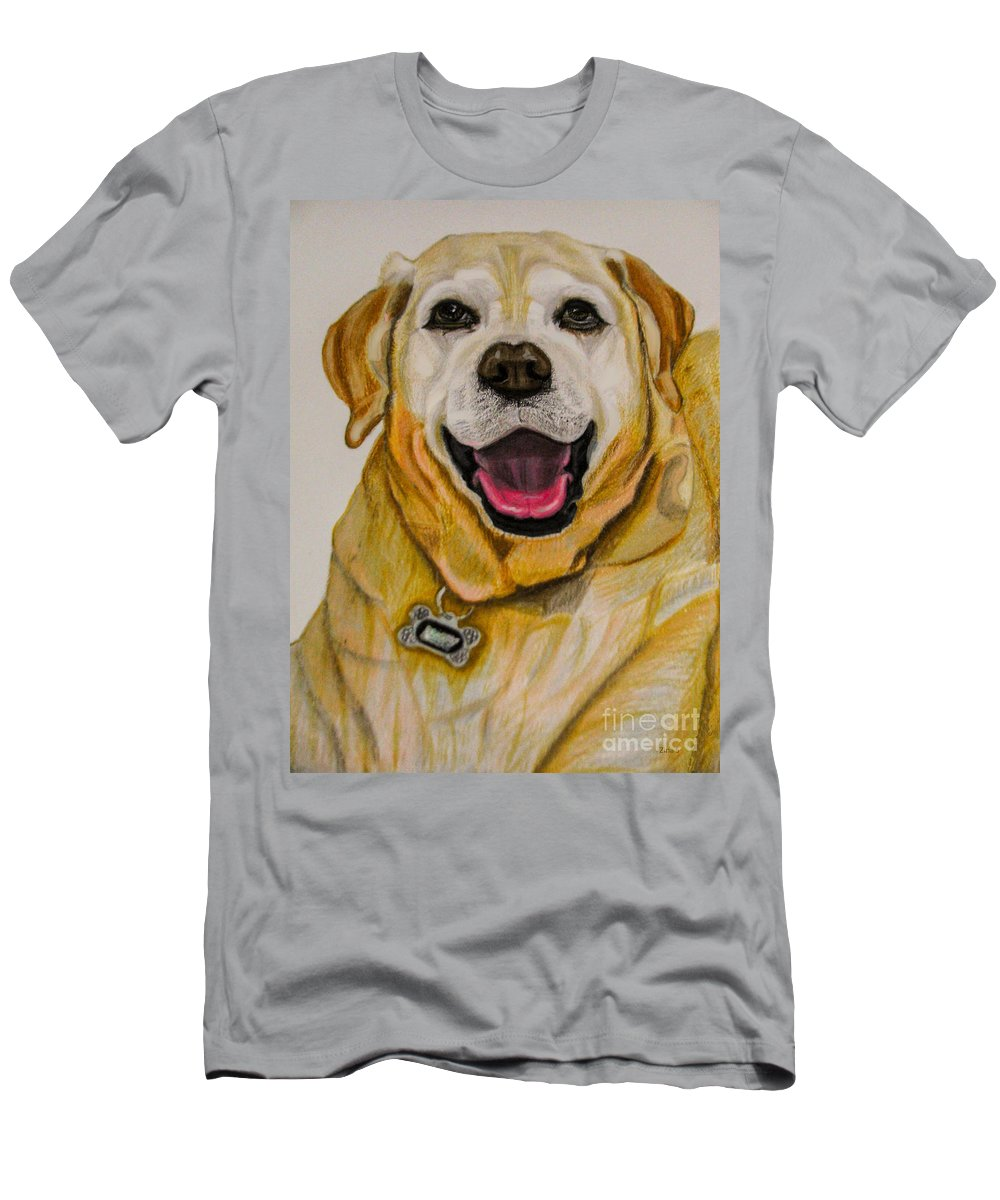 Labrador Men's T-Shirt (Athletic Fit) featuring the drawing Labrador Retriever Drawing by Zina Stromberg