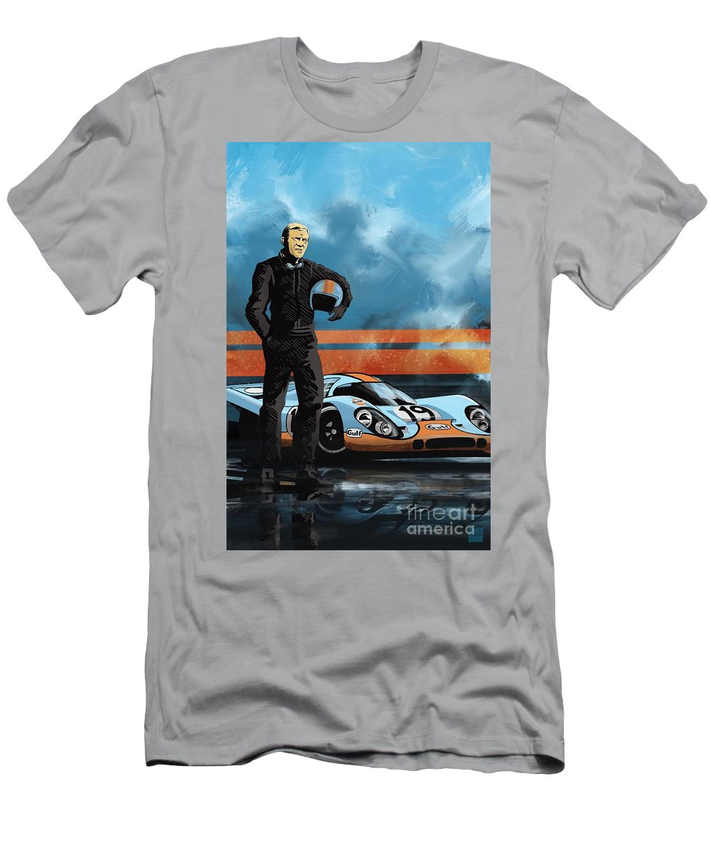 Porsche 917 Men's T-Shirt (Athletic Fit) featuring the painting Mc Queen 917 by Sassan Filsoof