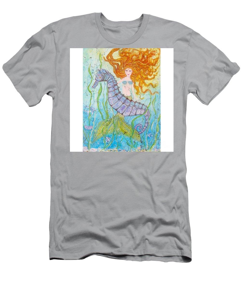 Mermaid T-Shirt featuring the painting Mermaid Fantasy by Midge Pippel