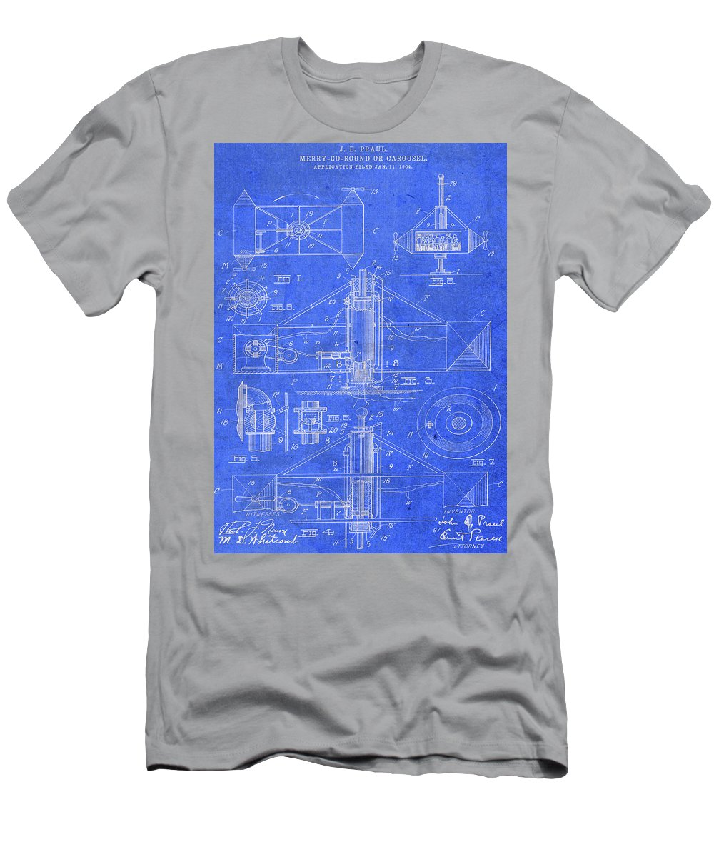 Merry Go Round Men's T-Shirt (Athletic Fit) featuring the mixed media Merry Go Round Amusement Carousel Vintage Patent Blueprint by Design Turnpike