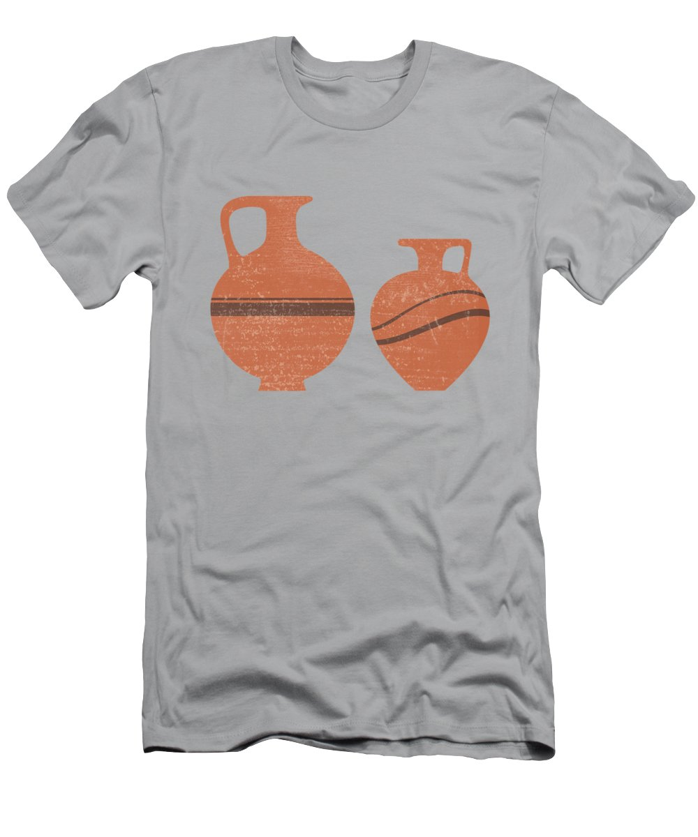 Abstract Men's T-Shirt (Athletic Fit) featuring the mixed media Minimal Abstract Greek Vase 20 - Oinochoe - Terracotta Series - Modern, Contemporary Print - Sienna by Studio Grafiikka