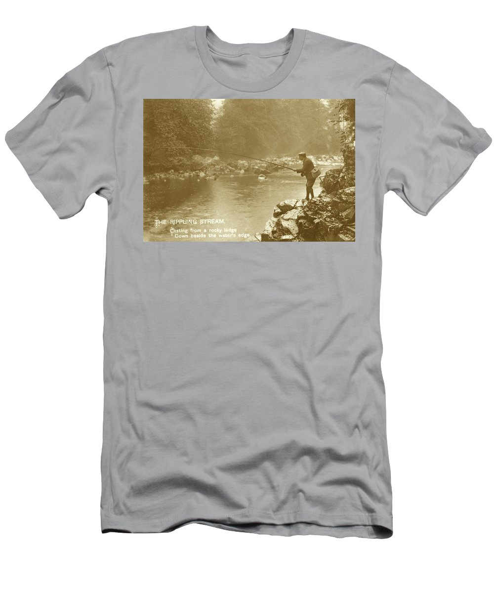 Man Fly Fishing Men's T-Shirt (Athletic Fit) featuring the photograph Morning's Magic by Jayson Tuntland