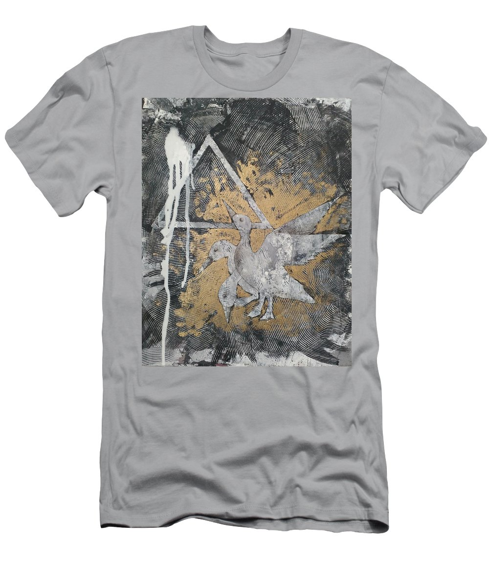 Art Acrylic Painting Animals Ancient Men's T-Shirt (Athletic Fit) featuring the painting Motion by Moe Bassiuoni
