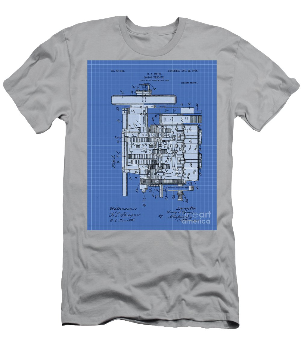 Antifener T-Shirt featuring the drawing Motor Vehicle Patent 1905 Patent Blueprint by Drawspots Illustrations