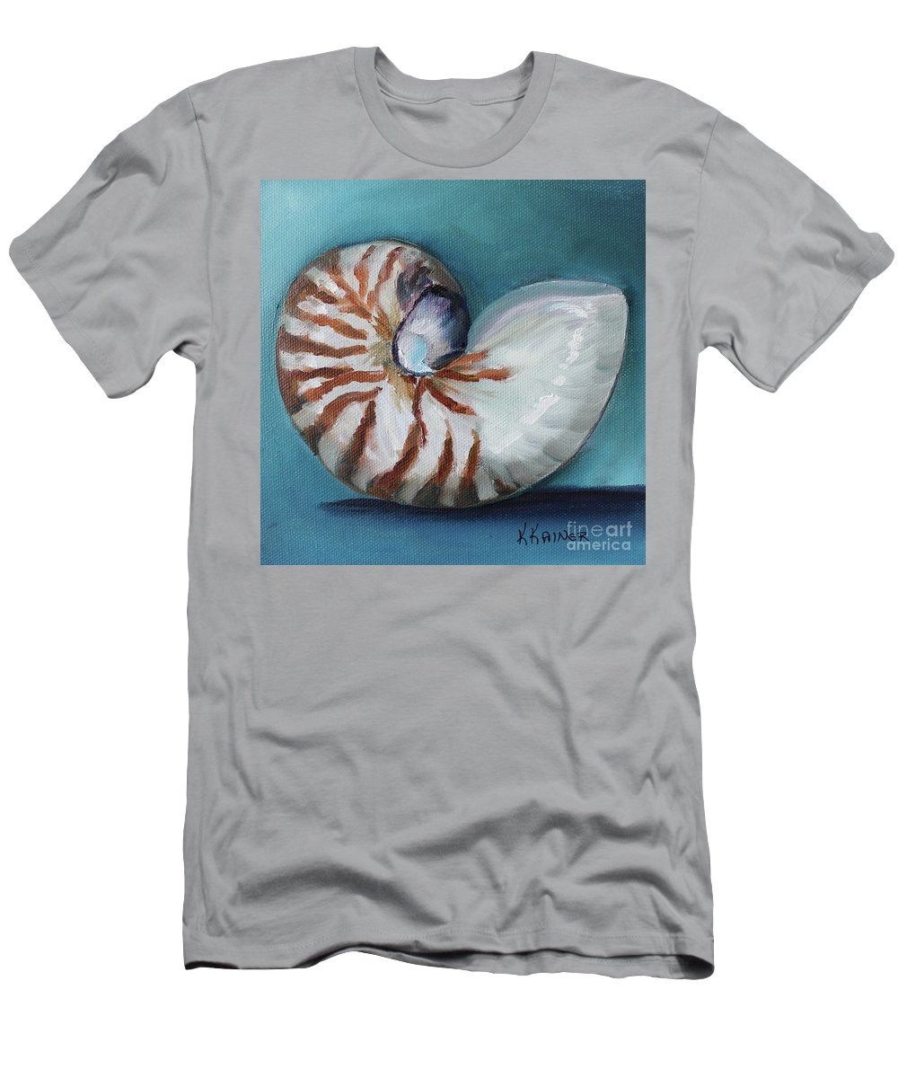 Nautilus Men's T-Shirt (Athletic Fit) featuring the painting Nautilus Shell by Kristine Kainer