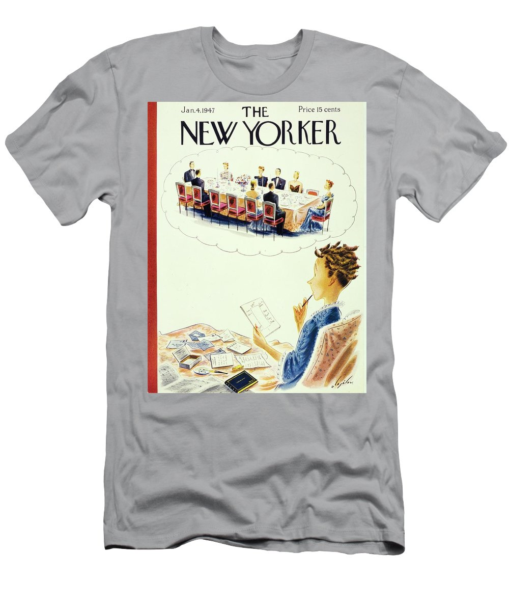 Illustration T-Shirt featuring the painting New Yorker January 4, 1947 by Constantin Alajalov