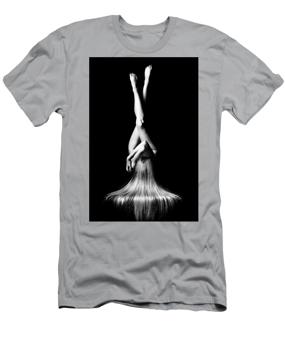 Woman Men's T-Shirt (Athletic Fit) featuring the photograph Nude Woman Bodyscape 1 by Johan Swanepoel